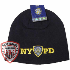 NYPD NAVY BLUE BEANIE STYLE KNIT HAT/GOLD EMBROIDERED LETTERS AND OFFICIAL LOGO
