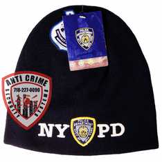 NYPD NAVY BLUE BEANIE STYLE KNIT HAT/WHITE EMBROIDERED LETTERS AND OFFICIAL LOGO