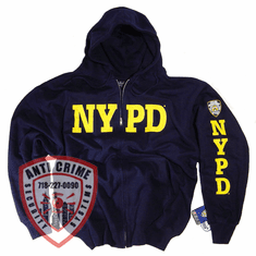 NYPD NAVY BLUE HOODED SWEATSHIRT WITH GOLD PRINT AND  ZIPPER