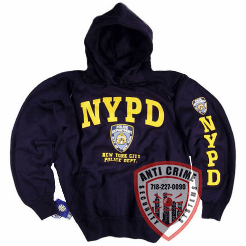 NYPD NAVY BLUE HOODED SWEATSHIRT WITH OFFICIAL LOGO/GOLD PRINT
