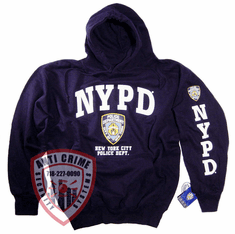 NYPD NAVY BLUE HOODED SWEATSHIRT WITH OFFICIAL LOGO/WHITE PRINT