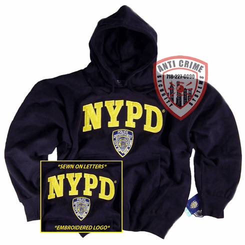 NYPD NAVY BLUE HOODED SWEATSHIRT WITH SEWN ON LETTERS AND OFFICIAL EMBROIDERED LOGO