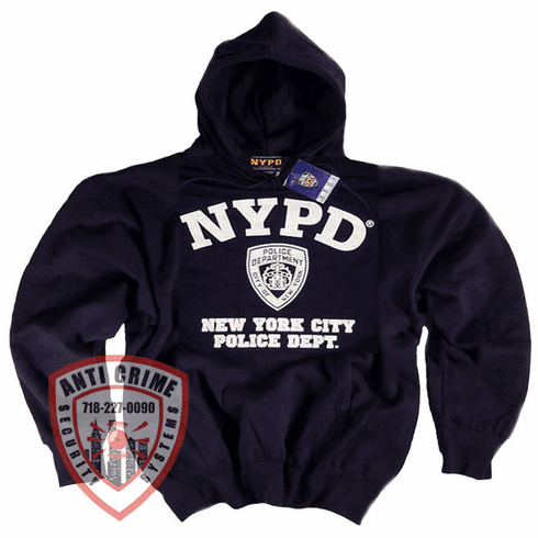 NYPD NAVY BLUE HOODED SWEATSHIRT WITH WHITE PRINT