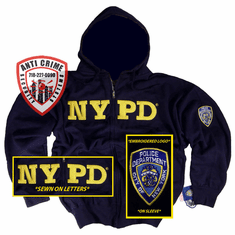NYPD NAVY BLUE HOODED ZIPPERED SWEATSHIRT WITH GOLD EMBROIDERED LETTERS