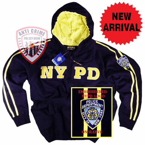 NYPD NAVY BLUE HOODED ZIPPERED SWEATSHIRT WITH GOLD STRIPES AND EMBROIDERED LETTERS