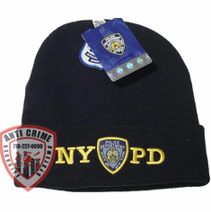 NYPD NAVY BLUE WINTER FOLDOVER KNIT HAT/GOLD EMBROIDERED LETTERS AND OFFICIAL LOGO