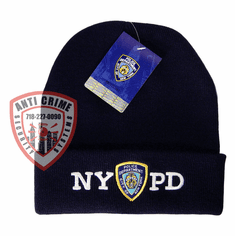NYPD NAVY BLUE WINTER FOLDOVER KNIT HAT/WHITE EMBROIDERED LETTERS AND OFFICIAL LOGO