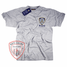 NYPD SHORT SLEEVE GRAY TEE SHIRT WITH EMBROIDERED LOGO