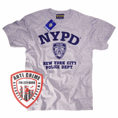 NYPD SHORT SLEEVE GRAY TRAINING TEE SHIRT WITH NAVY BLUE PRINT