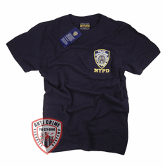 NYPD SHORT SLEEVE NAVY BLUE TEE SHIRT WITH EMBROIDERED LOGO