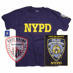 NYPD SHORT SLEEVE NAVY BLUE TEE SHIRT WITH GOLD PRINT AND LOGO ON SLEEVE