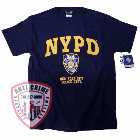 NYPD SHORT SLEEVE NAVY BLUE TEE SHIRT WITH GOLD PRINT AND NYPD OFFICIAL LOGO