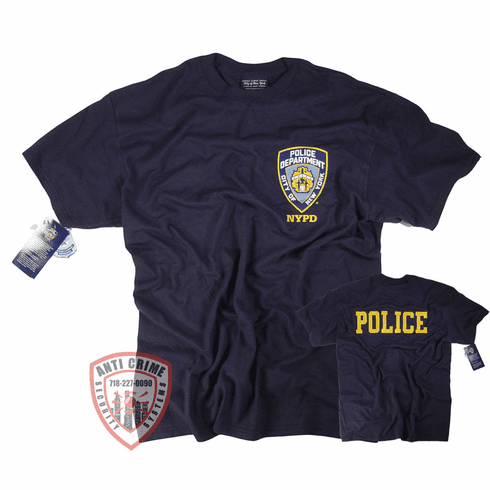 NYPD SHORT SLEEVE NAVY BLUE TEE SHIRT  WITH POLICE ON BACK