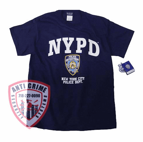NYPD SHORT SLEEVE NAVY BLUE TEE SHIRT  WITH WHITE PRINT AND NYPD OFFICIAL LOGO