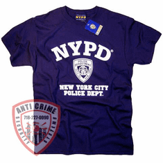 NYPD SHORT SLEEVE NAVY BLUE TRAINING TEE SHIRT WITH WHITE PRINT