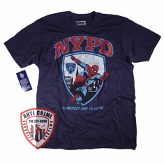 NYPD SHORT SLEEVE SPIDERMAN TEE SHIRT OFFICIALLY LICENSED BY MARVEL AND THE NEW YORK CITY POLICE DEPARTMENT