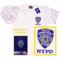 NYPD SHORT SLEEVE TEE SHIRT WHITE WITH EMBROIDERED LOGO