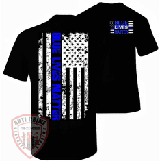 THIN BLUE LINE BLUE LIVES MATTER T-SHIRT BLACK