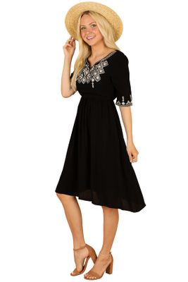 Abigail Modest Boho Dress in Black w/Ivory Embroidery
