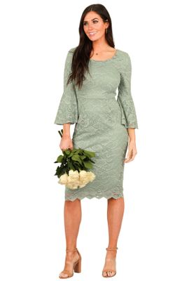 April Modest Bridesmaid Dress in Sage Green Lace