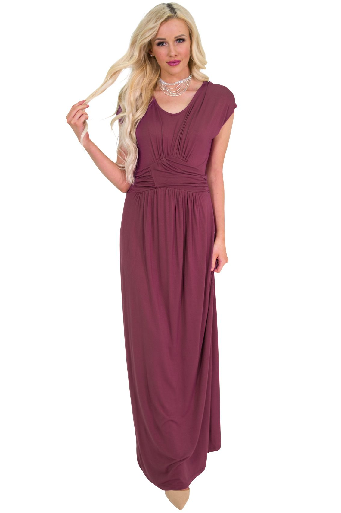 Quot Athena Quot Modest Maxi Dress W Ruched Empire Waist In Maroon