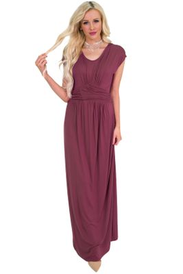 Athena Modest Bridesmaid Dress or Maxi Dress in Burgundy