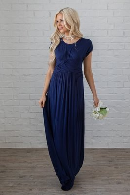 Athena Modest Maxi Dress or Bridesmaid Dress in Navy Blue, Dark Blue
