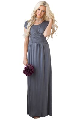 Athena Modest Bridesmaid Dress in Pewter Grey, Modest Maxi Dress