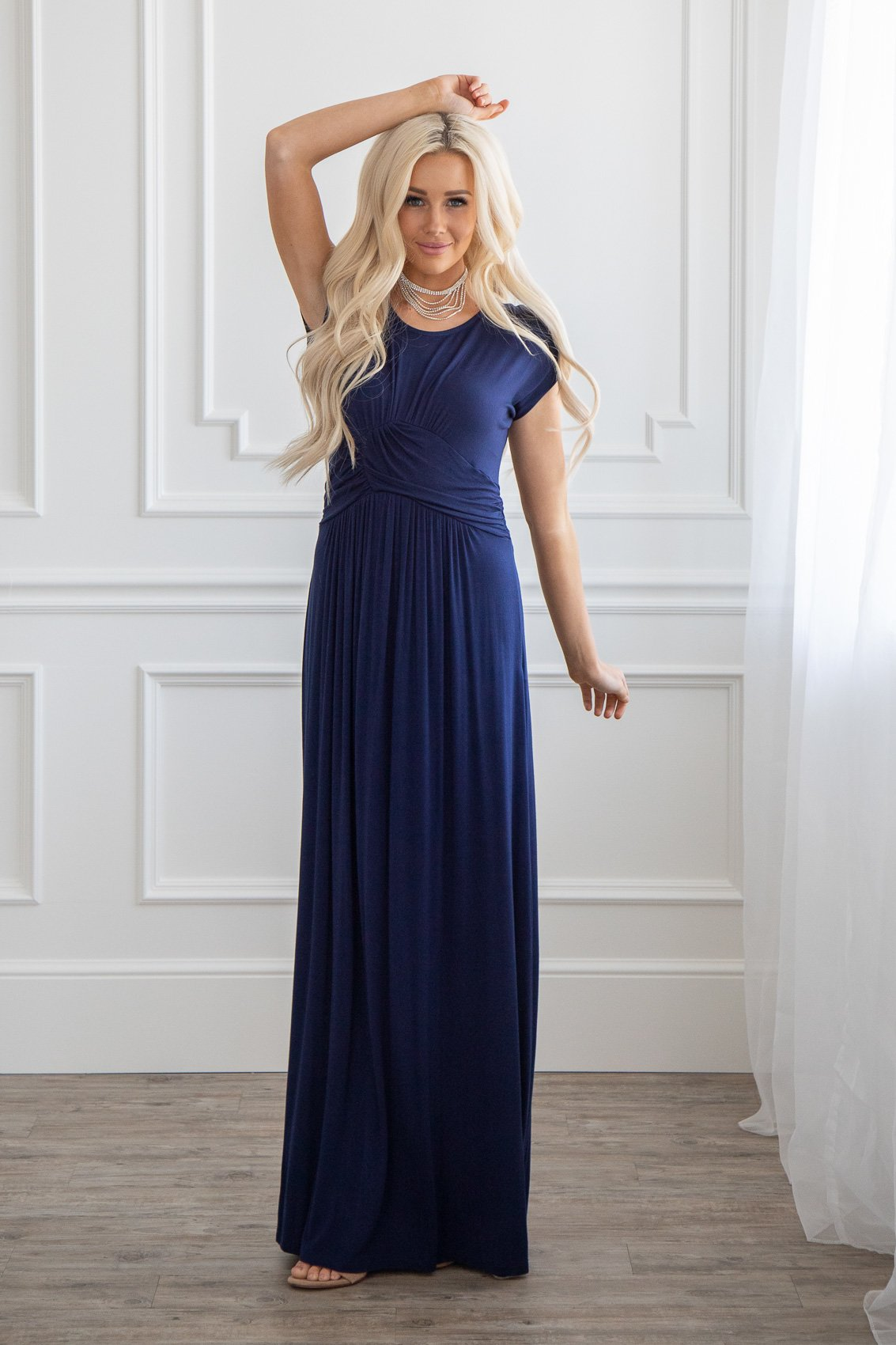 Quot Athena Quot Modest Maxi Dress W Ruched Empire Waist In Navy Blue