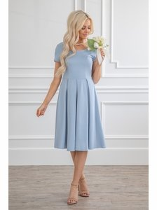 Bryn Modest Bridesmaid Dress In Light Dusty Blue Powder Steel