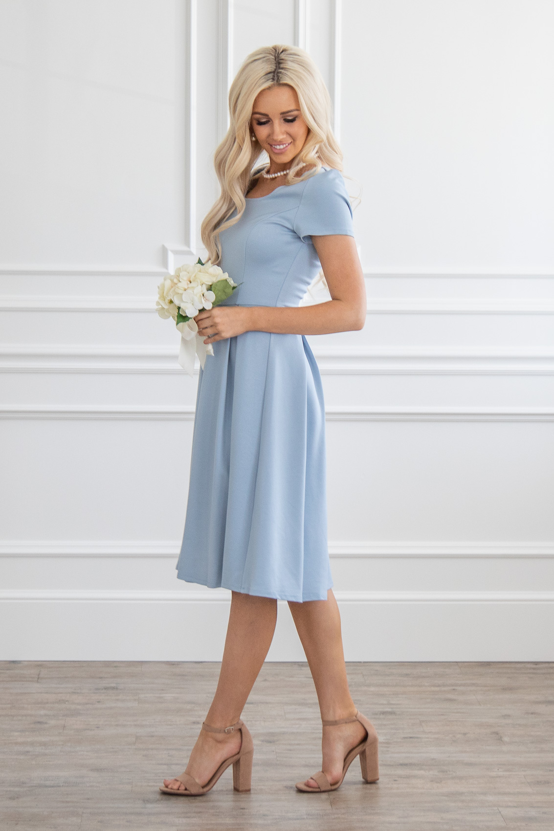 8cd8266c15877 ... Bryn Modest Bridesmaid Dress in Light Dusty Blue (aka Powder Blue or  Steel Blue)