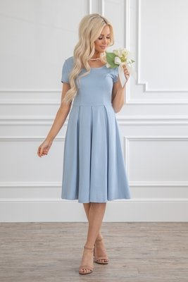 Bryn Modest Bridesmaid Dress in Light Dusty Blue (aka Powder Blue or Steel Blue)