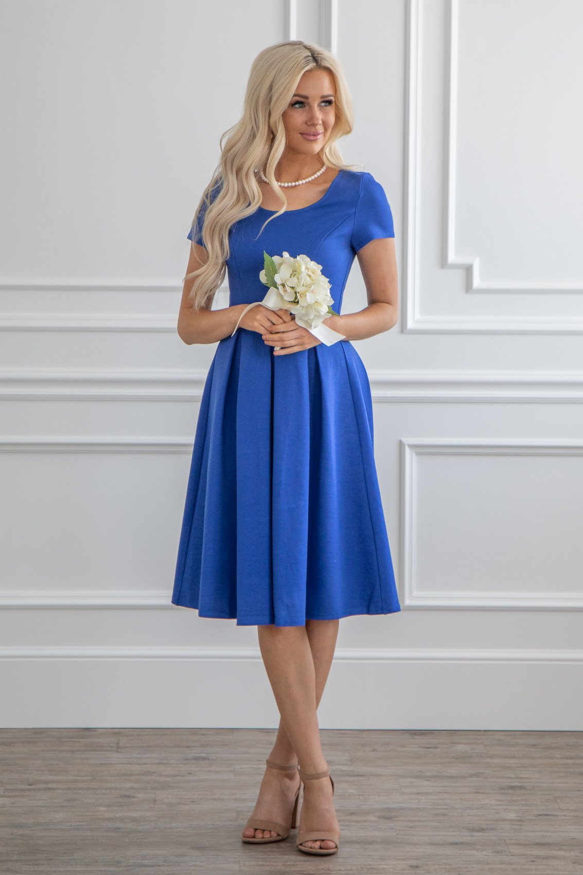 Jen Quot Bryn Quot Modest Semi Formal Bridesmaid Dress In True Blue