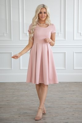 Bryn Modest Dress or Bridesmaid Dress in Blush Pink