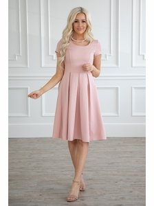 f2935545985 Bryn Modest Dress or Bridesmaid Dress in Blush Pink
