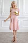 Bryn Modest Bridesmaid Dress in Blush Pink
