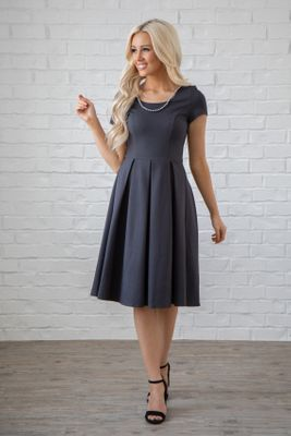 Bryn Modest Bridesmaid Dress in Dark Charcoal Gray
