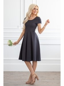 Bryn Modest Dress or Bridesmaid Dress in Dark Charcoal Gray c56ccd137