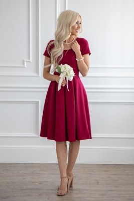 Bryn Modest Bridesmaid Dress in Rhubarb Red / Burgundy
