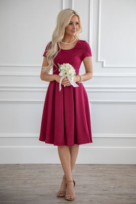 Bryn Modest Bridesmaid Dress in Rhubarb Red (aka Burgundy)