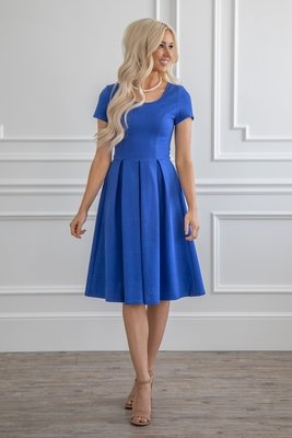 Bryn Modest Christmas Dress, Modest Bridesmaid Dress in Blue (aka Royal Blue or Cobalt)