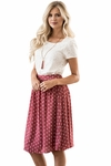 Chiffon Modest Skirt in Dark Mauve w/Polka Dots