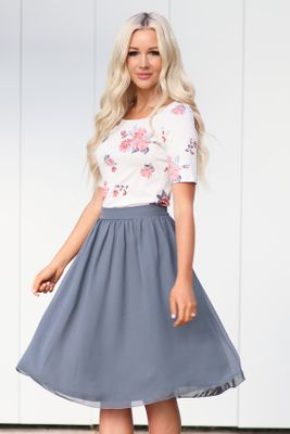 Chiffon Modest Skirt in Gray Blue