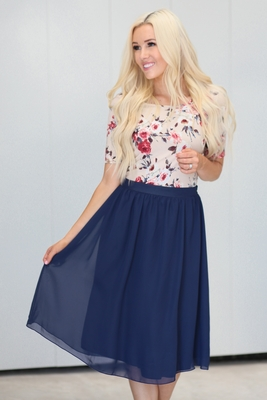Chiffon Modest Skirt in Navy Blue