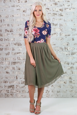 Chiffon Modest Skirt in Olive Green