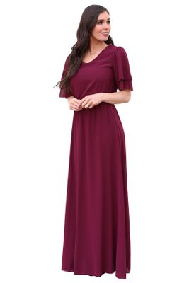 Chloe Modest Chiffon Maxi Dress in Burgundy Maroon