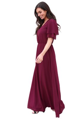 Chloe Modest Bridesmaid Dress, Maxi Dress in Burgundy Maroon Chiffon