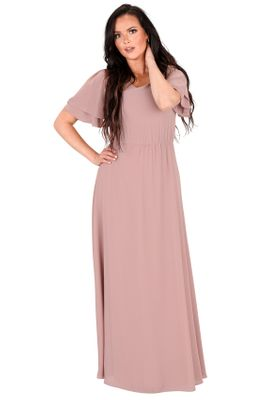 Chloe Long Modest Bridesmaid Dress, Maxi Dress in Dusty Lilac / Ash Rose / Mauve
