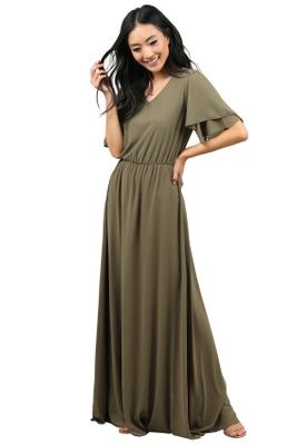 Chloe Modest Bridesmaid Dress, Maxi Dress in Olive Green, Hunter Green Chiffon, Modest Fall Dress