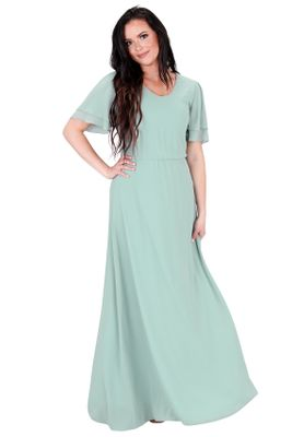 """Chloe"" Modest Long Bridesmaid Dress, Maxi Dress in Mint Sage Green"